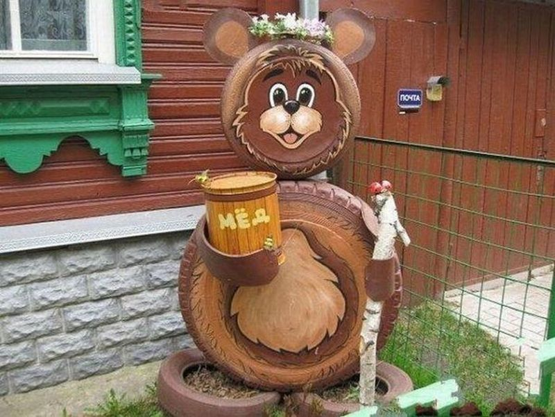 Поделки из шин медведя своими руками 23