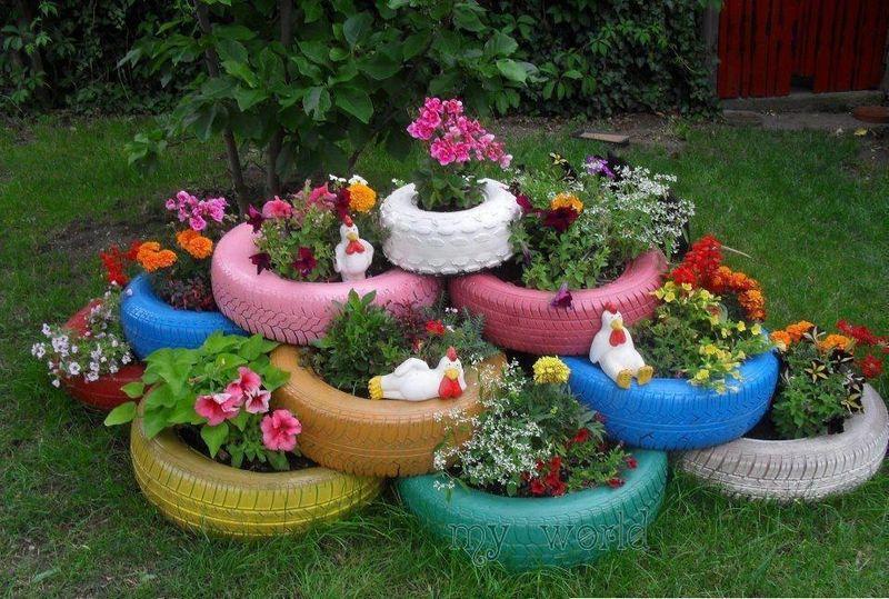 Клумбы из покрышек для сада